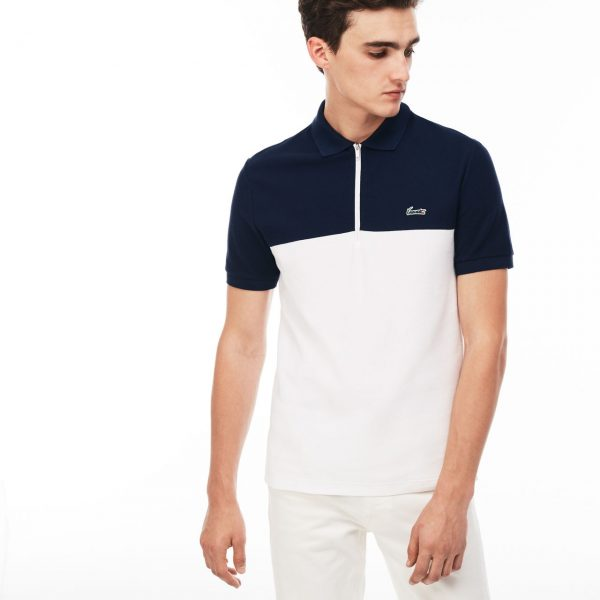 Lacoste Hommes Slim Fit Honeycomb Polo – Bleu marine/blanc