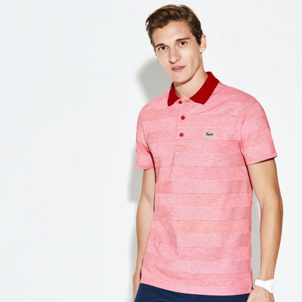 Lacoste Hommes sport technique maillot Polo Golf – ROUGE/BLANC