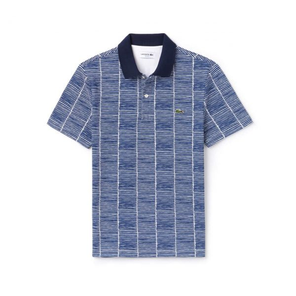 Lacoste Slim Fit Print Cotton Piqué Polo – Homme – WHITE/ROYAL BLUE