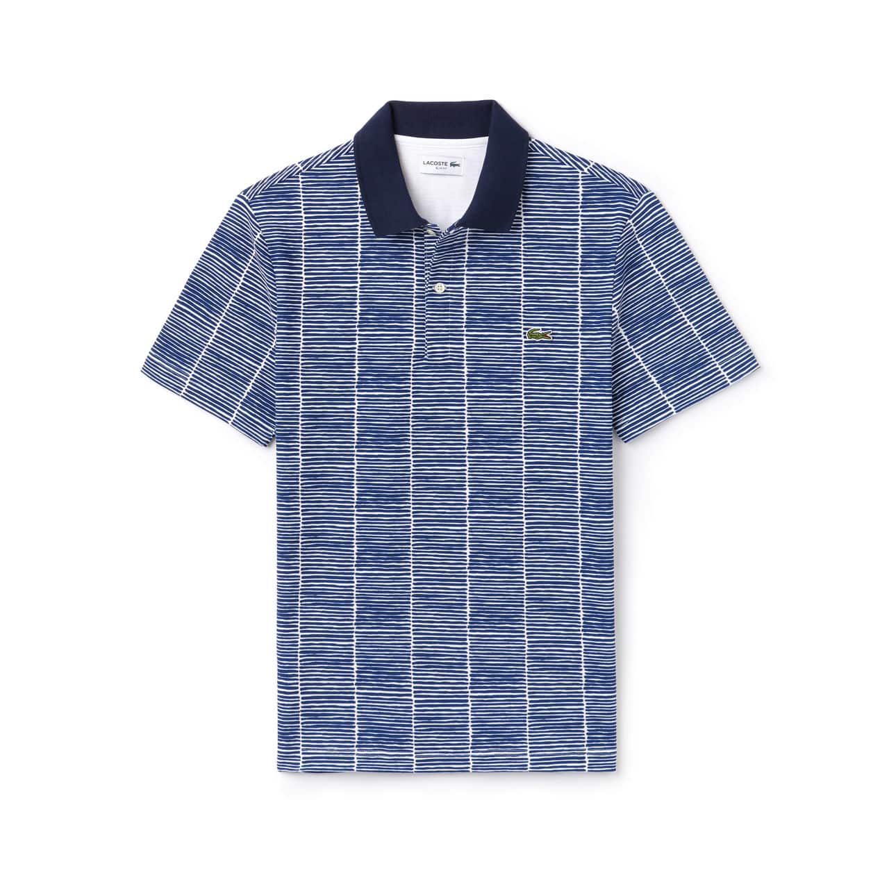 856c91b047 Lacoste Slim Fit Print Cotton Piqué Polo – Homme – WHITE/ROYAL BLUE ...